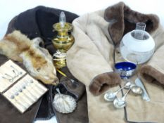VINTAGE SHEEPSKIN JACKETS (2), fur stole, a brass oil lamp with etched glass shade and a small