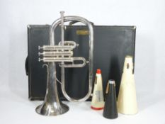 GETZEN ETERNA SILVER PLATED FLUGEL HORN - cased with accessories, no mouthpiece, 43cms L, No K45162
