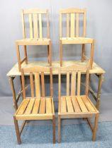 VINTAGE FOLDING TRESTLE TABLE & FOUR MODERN TEAK GARDEN/CONSERVATORY CHAIRS - 76cms H, 136cms W,
