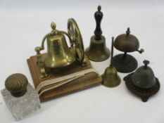 VICTORIAN & OTHER DESKTOP & HAND BELLS with a brass top glass inkwell