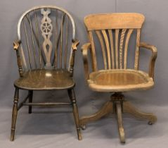 VINTAGE OAK SWIVEL OFFICE ARMCHAIR and a later wheelback spindle armchair on turned supports,