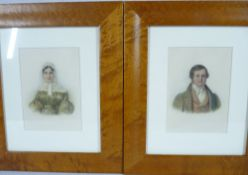 WATERCOLOUR PORTRAIT STUDIES, a pair - Dickensian style lady and gentleman, half- length in period