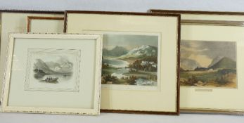 TINTED ENGRAVINGS & PRINTS OF EARLY NORTH WALES VIEWS (6) to include T Clay London 1818 titled '
