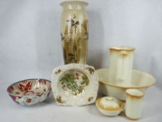 VICTORIAN & LATER POTTERY GROUP to include a four piece wash and jug bowl set, Imari bowl and one