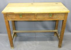 VINTAGE OAK DOUBLE SCHOOL DESK - the top with inkwell and pen apertures and twin drop-down front,