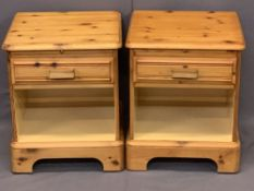ROSEDALE MODERN PINE SINGLE DRAWER BEDSIDE CHESTS (2) - 57cms H, 47cms W, 44cms D