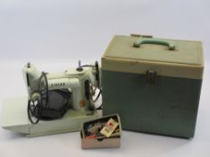 VINTAGE SINGER 221K ELECTRIC SEWING MACHINE WITH FOOT PEDAL in original carry case