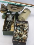 VINTAGE CAST IRON KITCHEN SCALES & WEIGHTS, Universal food chopper, porcelain and wooden furniture