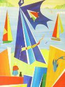 DAVID WILDE acrylic entitled - 'Hostage to the Slate God', signed, 53 x 35cms