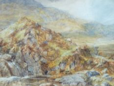 MANNER OF DAVID COX JR watercolour - mountain scene with figure on a rock, 22 x 34cms