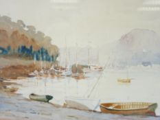 ENGLISH SCHOOL watercolour - the Marine Walk Conwy with numerous boats and Deganwy and the Vardre in