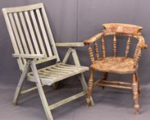 TWO VINTAGE STYLE ARMCHAIRS including a smoker's bow example, 80cms H, 64cms W, 44cms seat D and a