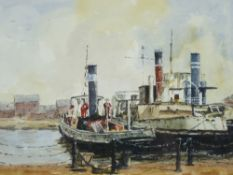 R G (BOB) HIILL watercolour - moored tugs at Ellesmere Port, signed, 27 x 36cms
