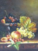K W PULLING modern oil on board - still life, fruit and leaves on a table, indistinctly signed, 24 x