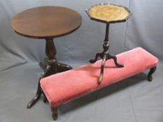 FURNITURE ASSORTMENT - circular topped tripod table, 66cms H, 52cms diameter, a reproduction wine