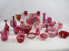 CRANBERRY & RUBY GLASSWARE, a good quantity of Victorian and later, approximately thirty pieces
