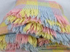 WAFFLE BLANKETS (3) - vintage, multi-coloured