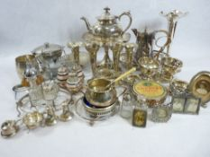 EPNS & OTHER METALWARE to include a small silver portrait frame, silver topped bottle ETC