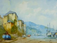 JACK R MOULD oil on canvas - continental coastal scene with cliffside properties and beached