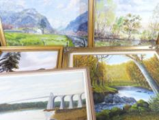 FRAMED OILS ON BOARD (5) - various artists to include J GLYN ROBERTS - mountain road scene with