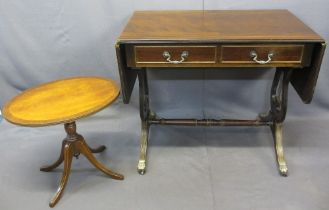 FURNITURE ASSORTMENT (2) - a reproduction sofa table with lyre ends, 75cms H, 87cms W (folded),