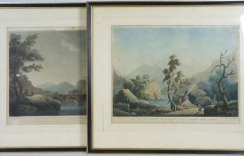 COLOURED ENGRAVINGS, A PAIR After WALMSLEY & JUKES - 1. To Sir Edward Lloyd near Crogen on the River
