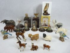 COUNTRY ARTISTS BIRD FIGURINES under domes, Beswick and other animal and bird figurines