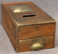 GEORGE GLEDHILL VINTAGE COUNTERTOP TILL - with single pull-out drawer and top window, applied rexine