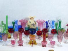 COLOURFUL VINTAGE & LATER GLASSWARE including Vaseline, cranberry, milk glass, Bristol blue and