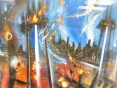 DAVID WILDE acrylic entitled - 'War of the Worlds Defeat of the Martians', signed, 50 x 66cms