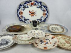 LARGE IRONSTONE TYPE & OTHER MEAT PLATTERS & TABLEWARE - a mixed quantity