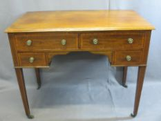 ANTIQUE MAHOGANY LADY'S DESK - with crossbanding and inlay on tapered supports, 77cms H, 92cms W,
