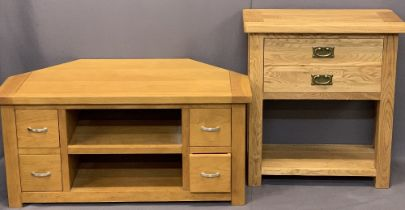 MODERN OAK HOUSEHOLD FURNITURE ITEMS (2) - a two drawer hall table with under-tier shelf, 77cms H,