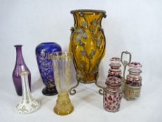 MIXED CAMEO, ETCHED, BLOWN and other glassware to include a large metal framed Amber blown glass