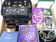 VINTAGE & LATER COSTUME JEWELLERY - to include a black jewellery case and contents containing a