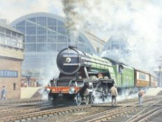 After J KEITH BYASS oil on board - L N E R steam engine 4472 departing with passenger coaches from