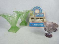 BOXED BABYCHAM 6 GLASS PARTY PACK OF GLASSES, a pair of green glass Art Deco vases and a Slag