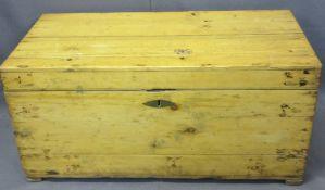 STRIPPED PINE LIDDED BOX - 39.5cms H, 83.5cms W, 42.5cms D