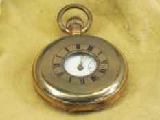A DENNISON STAR ROLLED GOLD HALF HUNTER POCKET WATCH - with white enamel dial, Roman numerals and