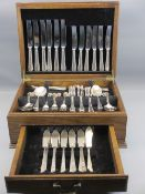 A CANTEEN OF ALL METAL SHEFFIELD CUTLERY - 6 place setting, 42 pieces (one fruit fork and one