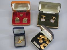 A PARCEL OF ROLLED GOLD CUFFLINKS, ETC, an oval 9ct gold pin stud and a silver thrupenny piece ring