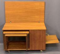 McINTOSH TRISTOR TEAK COMBINATION LOW TABLE WITH SIDE STORAGE - the foldover top over two occasional
