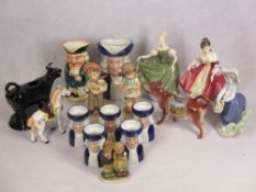 WOOD & SONS 'Ralph Enoch' Toby jugs, two Royal Doulton figurines 'Southern Belle' HN2229 and '