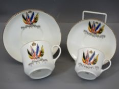 FIRST WORLD WAR COMMEMORATION CHINA - by Aynsley, a moustache cup and saucer and a coffee cup and