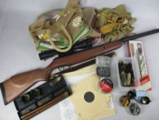 STOEGER .22 CALIBRE AIR RIFLE WITH BROWN STOCK and associated 3-9 x 40 AO sights, as new, along with