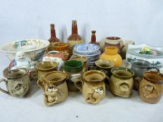 WADE WHISKEY DECANTERS, Sunderland lustre 'Sailor's Farewell Ball', Ugly pottery mugs, Blue &