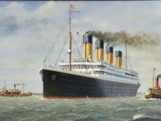 After J KEITH BYASS oil on board - The Titanic with tugboats, signed and dated 1993, 50 x 75cms