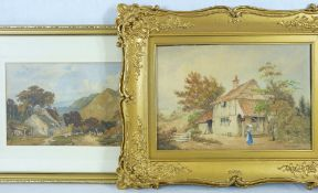 WATERCOLOURS (2) - 1. indistinctly signed (Sarjent?) rural cottage scene with figure in blue dress