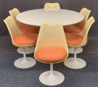 RUDI BONZANINI CIRCULAR PEDESTAL DINING TABLE & SIX CHAIRS - 73.5cms H, 120cms diameter and 79cms H,