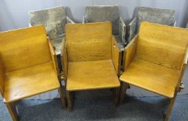 ARTS & CRAFTS STYLE OAK CHAIRS (6), peg-joined, three being in polished condition, 81cms H, 55cms
